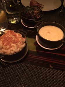 Side dishes: Mac and Cheese, Mashed Potatoes, and Mushrooms.